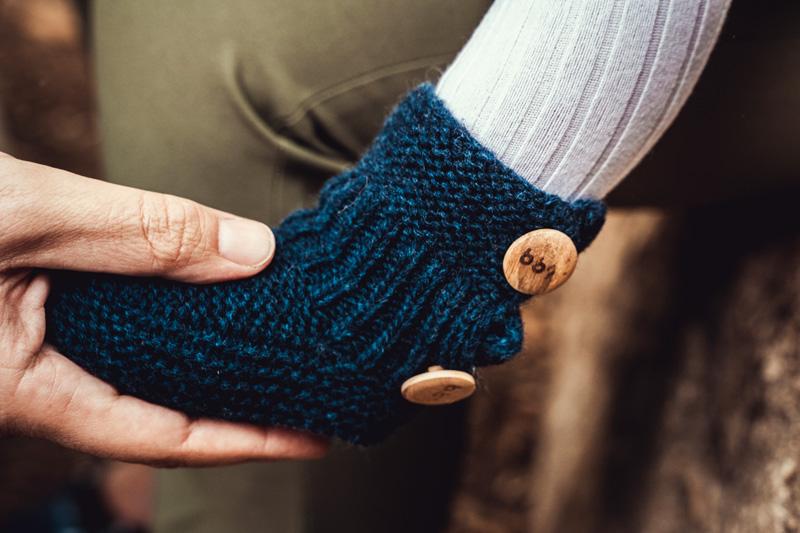 patuco de lana azul